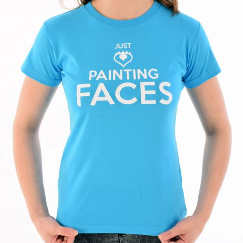 Female Crew Neck T-Shirt ~ Turquoise Just Painting Faces